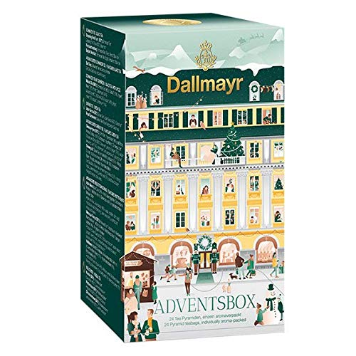 Adventsbox | Dallmayr Tee-Adventskalender 2020 mit 24 exklusiven Tee-Pyramiden | Tee-Adventsbox 1er Pack (1x 61,4g)
