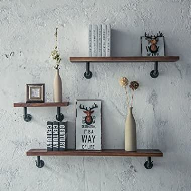 Industrial Pipe Shelving Bookshelf Rustic Modern Wood ladder pipe wall shelf pipeline shelves decorative Vintage Hung Bracket Industrial Shelves Frame Wood Floor Shelf Wall Rack 40cm,80cm,120cm.