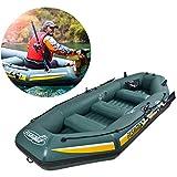 ZKDX Kayak Inflable Set, 5-Persona Barco Inflable, Barco de Pesca de Aluminio con Aire de paletas y Bomba de Aire de Alto Rendimiento, Compatible con el Motor de Arrastre MXY