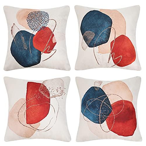 Funda de Cojín Juego de 4 Piezas Patrón Geométrico Abstracto Funda de Almohada Decorativa Lino Suave Retro Azul Rojo Beige 45x45 cm Sofá Sala de Estar Cama Decoración del Hogar