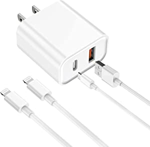iPhone Fast Charger, [Apple MFi Certified] esbeecables 20W Dual Port PD3.0 USB-C + QC3.0 USB-A Rapid Wall Charger with 2X 6ft Lightning Cables, for iPhone 12/11 Pro, XS/XR/X/8/7P, SE2, iPad, AirPods