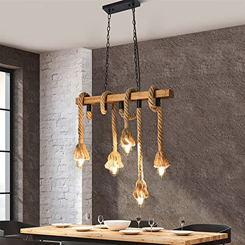 ZMH suspension vintage bois lampe suspendue table à manger - corde de chanvre lustre rétro 5 flammes E27 longueur 70cm rustique industriel pour salon salle à manger restaurant café (sans ampoules)
