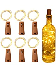Luz de Botella, Yizhet Luz Botella Corcho, 6 Piezas LED Luces Botellas de Vino 2m 20 LED Guirnaldas Pilas Luminosas Decorativas Cobre Luz para Boda, Navidad, Fiesta, Jardín (Blanco Cálido)