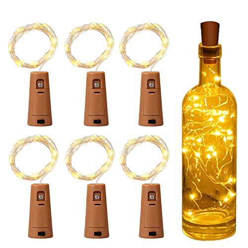 Flaschenlichterkette Korken,Yizhet 6xLED Flaschenlicht Batterie Lichterkette 2M 20LED Flaschenlicht Korken,Lichterkette für Glas,Kupferdraht Lichterkette mit Batterie für Party Hochzeit Weihnachten