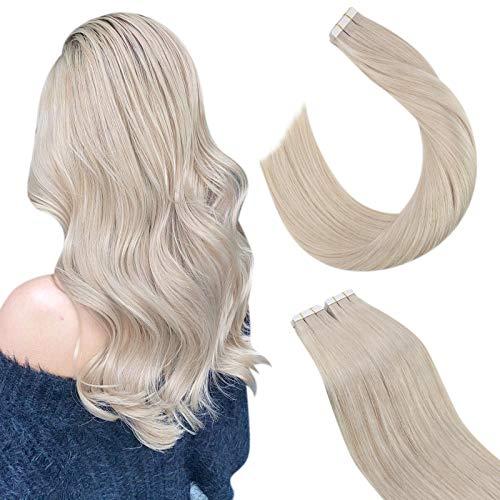Ugeat 40cm Klebestreifen Tape Extensions Brazilian Echthaar #60A Weiße Blondine 2.5GR/PC*20Stücke Remi Echthaar Tressen Tape Haarverlangerung mit Band Tape Extension Echthaar