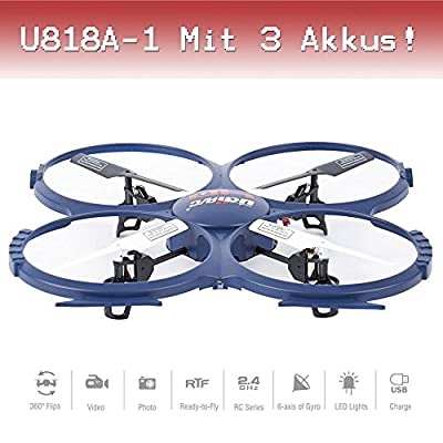 Drohne with PRO HD Camera CAM RC Quadrocopter UFO Winner ORIGINAL UDI U818A - 1 Ready-To Fly 3D Flip 4.5 2.4 GHz 3 Channel Ready to Fly St.AKKU from Udi Rc