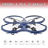 Drohne mit Kamera Quadrocopter PRO HD CAM ORIGINAL UFO ferngesteuert UDI U818A-1 Ready-to-Fly 3D Flip 2,4 GHz 4,5 Kanal Flugfertig + 3 St.AKKU
