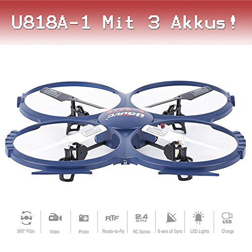 DRONE avec caméra de QuadroCopter Pro HD Cam UFO ferngesteuert UDI u818a 1Ready To Fly 3D étui de 2,4GHz 4,5Canal à voler + 3St. Batterie