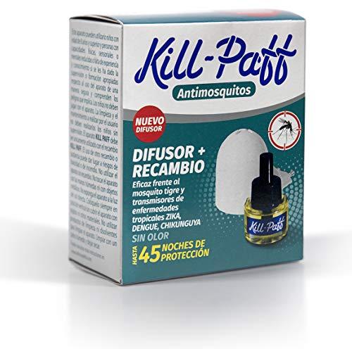 KILL-PAFF | Insecticida Eléctrico | Antimosquitos| Eficaz Contra Mosquito Tigre y Transmisores de Enfermedades Tropicales| Sin Olor| 45 Noches de Protección | Contenido: 1 difusor + 1 recambio