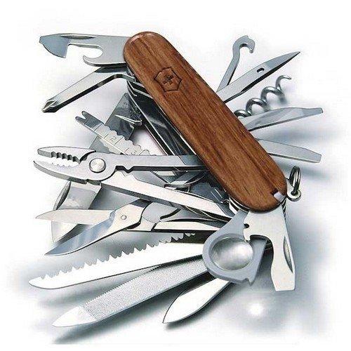 Couteau de Poche Victorinox Swiss Champ Wood (29 Fonctions, scie à Bois, Ciseaux à Bois, écailleur) bubinga