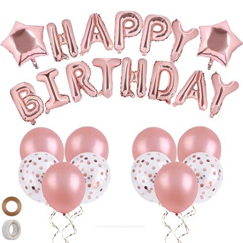 JanPraci Globos de Cumpleaños, Decoraciones de Fiesta, Globo de Confeti con Letras Happy Birthday, Globos de Lámina de Látex, Globos Cumpleaños para Hombres Mujeres Adultos Ñinos (Oro rosado)