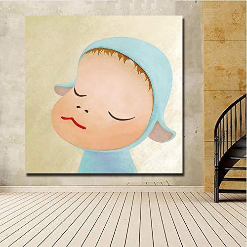 KWzEQ Pintura de Dibujos Animados muñeca Lienzo Arte impresión póster Imagen bebé habitación decoración de la Pared decoración del hogar,Pintura sin Marco,40X40cm