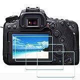 ULBTER 90D 80D - Protector de pantalla para cámara Canon EOS 90D 80D/77D/70D, dureza 9H, protector de pantalla de vidrio templado ultratransparente, antiarañazos, antihuellas, antipolvo, 3 unidades