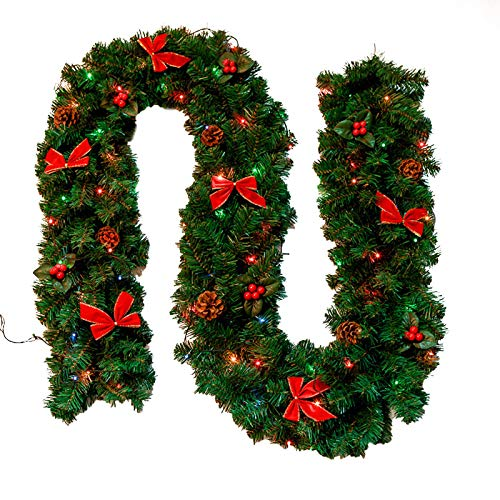 2.7M / 8.86FT Artificial Christmas Garland Xmas Garland Outdoor with Bowknot, Front Door Mantle Garland Christmas Decoration Holiday Decor