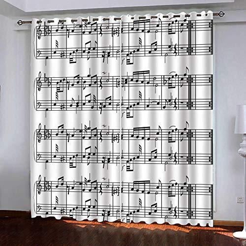 Smxsfff 3D Cortina Nota Musical Cortinas De Salon En Poliéster para Habitacion Dormitorio Cocina Decoración del Hogar Moderno 2 Paneles.150X166Cm(W*H Cm)