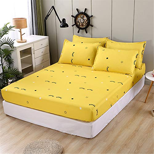 YYSZM Three-Piece Bedding: 1 Bed Sheet, 2 Pillowcases, 100% Polyester Geometric Printing Bed Sheet And Elastic Bed Sheet Polyester Mattress Cover, Non-Slip And Dust-Proof