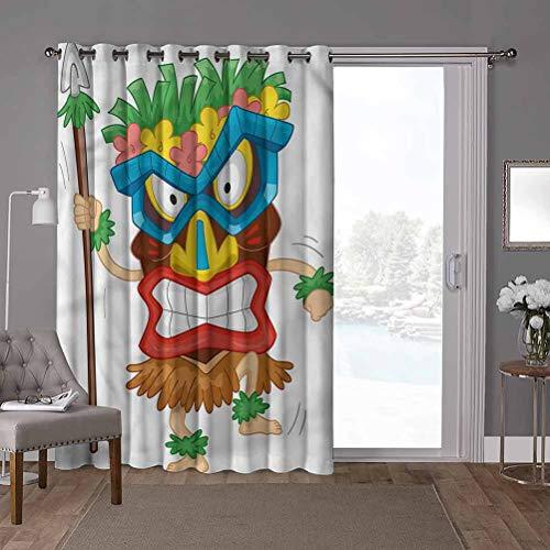 YUAZHOQI Cortinas opacas para puerta de patio, Tiki Bar, disfraz nativo, 100 x 220 cm de ancho x 220 cm de largo cortinas para dormitorio (1 panel)