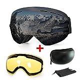 Extra Mile 【2019New】 Ski Goggles, Anti-Fog UV Protection Winter Snow Sports...