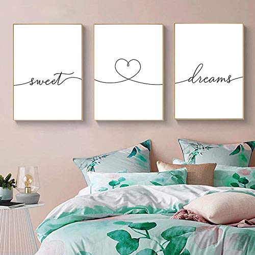 WTYBGDAN Schwarz Weiß Sweet Dream Leinwand Poster Text Zitate Drucken Nordic Minimalist Wandkunst Gemälde Moderne Schlafzimmer Dekoration Bild | 40x60cmx3Pcs / Kein Rahmen