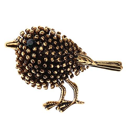 P Prettyia Mini Blume Brosche Strass Dekoration Schal Clips Pin für Damen Frauen Hochzeit Party in vielen Motiven - Antike Gold Vogel Diamant Brosche