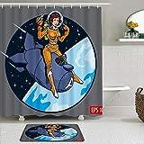 Juego de cortinas de ducha de 2 piezas con alfombra de baño antideslizante,Mujer hermosa Vintage estilo cómic traje espacial y casco astronauta estrellas,12 ganchos,Decoración de baño personalizada