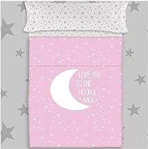 COTTON ARTean Juego de sabanas Infantil/Juvenil Moon Pink Cama de 105 x 190/200. 100% ALGODÓN.