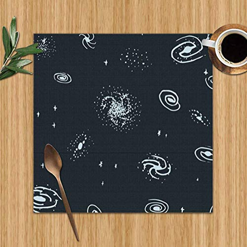 AmyNovelty Mantelitos Individuales,Mantel De Galaxia Dibujado A Mano para Mesa De Comedor, Manteles Personalizados para Decoración De Interiores Y Exteriores,Set of 4(30x30cm)
