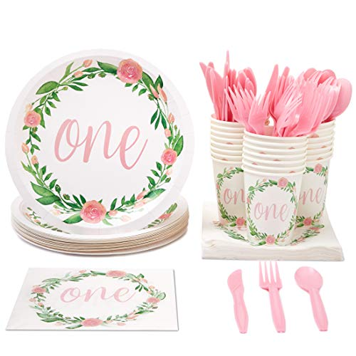 1st Birthday Decorations, Paper Plates, Napkins, Cups and Plastic Cutlery (Serves 24, 144 Pieces)