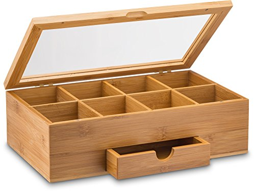 Natural Bamboo Tea Storage Box - Wooden Tea Chest Organizer with Small...