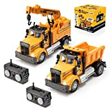 Force1 Mini Construction RC Trucks for Kids - 2 Pack Remote Control Construction Trucks Set with Mini Toy Crane RC Truck and Mini Dump Truck Toy, 2.4GHz Remote Controls, Bright LEDs, RC Car Batteries