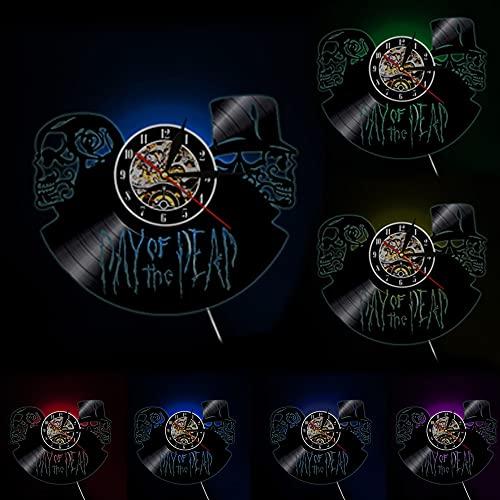 Dia de Muertos Relógio de Parede Dia dos Mortos Crânios, Arte de Parede de Vinil Record Clock Halloween Esqueleto da Morte Decoração de Parede com LED