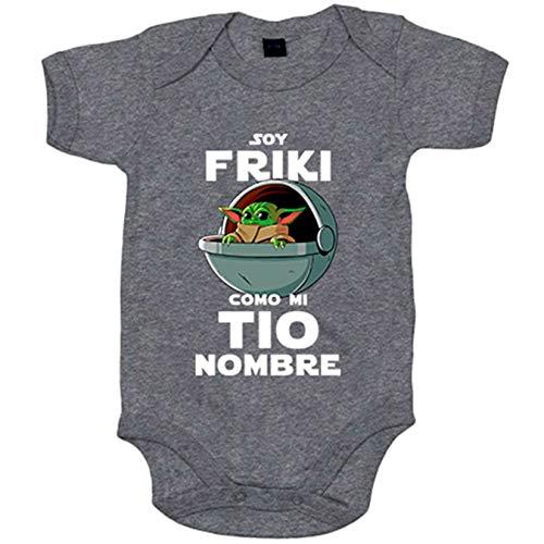 Body bebé soy friki como mi tio ilustración baby yoda personalizable con nombre - Gris, 6-12 meses
