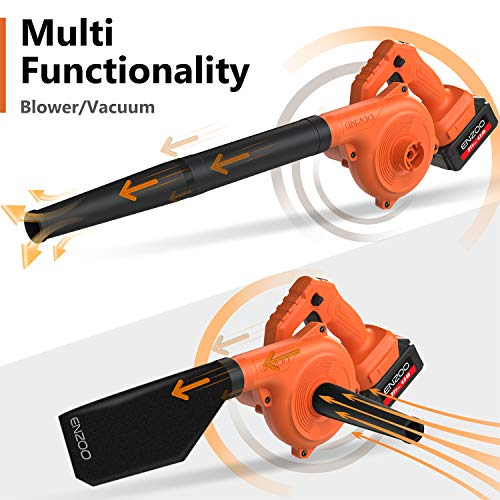ENZOO Cordless Leaf Blower/Dust Vacuum 2-in-1 Designed for Light Yard Work and Hard Surface Sweeping Variable Speed MAX 20V Includes 2.0Ah Lithium-Ion Battery and Charger (Orange)