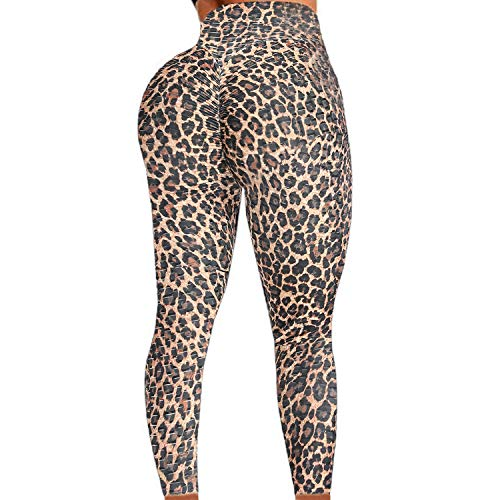 FITTOO Womens High Waist Textured Workout Leggings Booty Scrunch Yoga Pants Slimming Tie Dye Print Ruched Tights Leopard XL