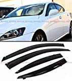 Cuztom Tuning Fits for 2006-2013 Lexus IS250 IS350 is-F Slim VIP Style Clip On Smoke Tinted Window Visor with Black Trim