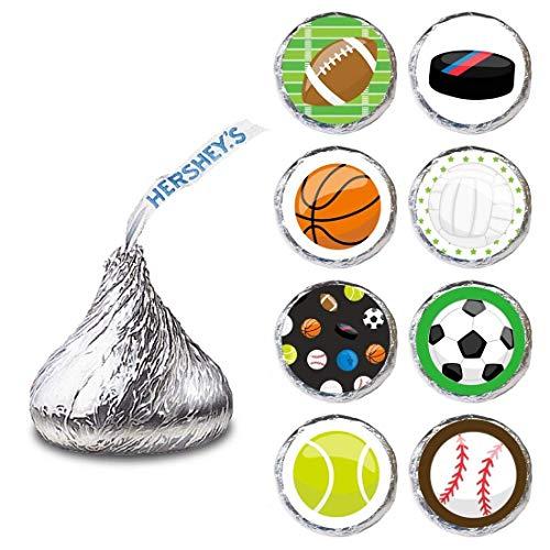 Sport Etikett für HERSHEY'S KISSES® Pralinen - Süßigkeitenaufkleber für Sportbälle Party -satz von 240