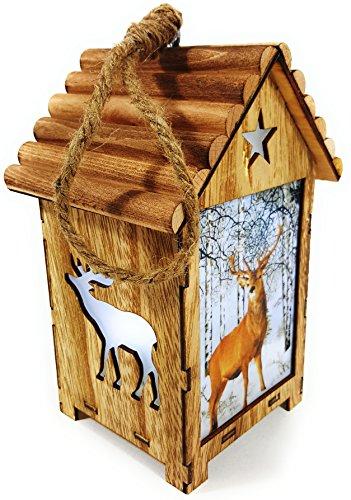 Bambelaa! LED Leuchthaus Hirsch Weihnachtsdeko Holz Weihnachtsbeleuchtung innen kabellos Weihnachten Haus