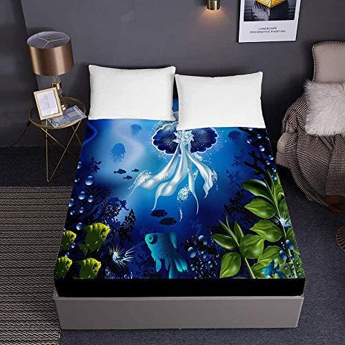 Sábana Bajera Ajustable Elástica,,Sábanas ajustables impresas para cama individual doble King Sábanas de cama de medusas 3D Bolsillo profundo 30cm - Microfibra suave Cuidado fácil-Los 200x200x30cm_5