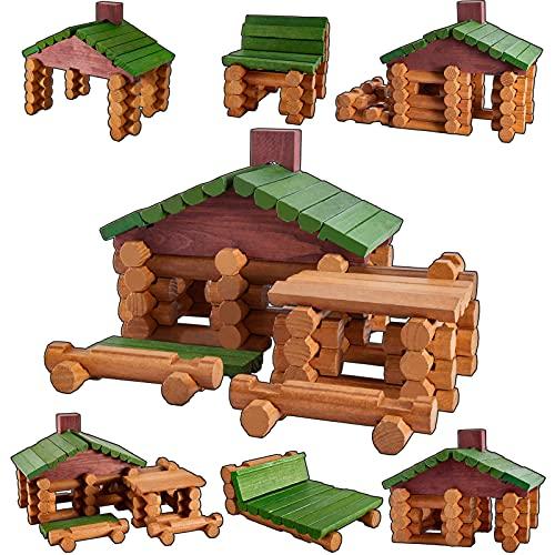 HYAKIDS Bausteine Bauklötze aus Holz 90 Stück Holzbausteine Holzhaus Bauspielzeug Stapelspiel Konstruktionsspielzeug Geschenk für Kinder Junge Mädchen 3 4 5
