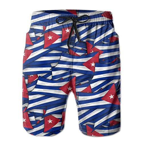 wwoman Badehose für Herren Cuba Flag Wave Collage Quick Dry Beach Board Shorts,L