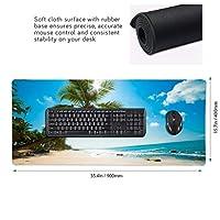 ビーチ ヤシの木と海 青空 マウスパッド ゲーミングマウスパット デスクマット キーボードパッド 滑り止め 高級感 耐久性が良い デスクマットメ キーボード パッド おしゃれ ゲーム用(90cm*40cm)