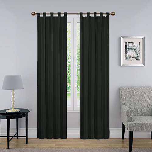 """PAIRS TO GO Montana Tab Top Curtains for Living Room, Double Panel, 30"""" x 95"""", Black"""