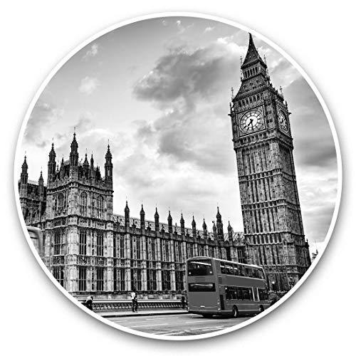 Impresionantes pegatinas de vinilo (juego de 2) 25 cm Bw – Houses of Parliament Big Ben Londres calcomanías divertidas para portátiles, tabletas, equipaje, reserva de chatarras, neveras, regalo genial #37094