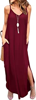 Womens Maxi Dresses Beach Cover Up Loose Casual Straps Split Long Dress with Pockets