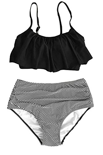 CUPSHE Women's High Waisted Falbala Bikini Set Black