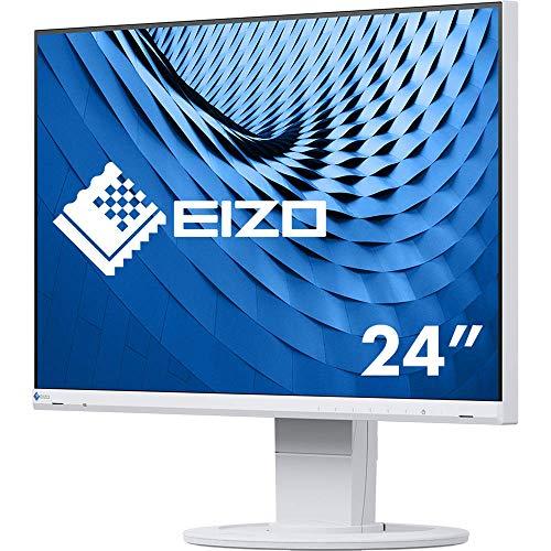EIZO FlexScan EV2460-WT 60,5 cm (23,8 Zoll) Ultra-Slim Monitor (DVI-D, HDMI, D-Sub, USB 3.1 Hub, DisplayPort, 5 ms Reaktionszeit, Auflösung 1920 x 1080) weiß