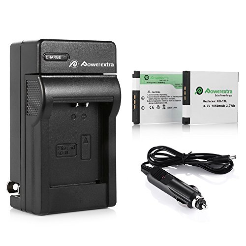 Powerextra 2 Pack Replacement Canon NB-11L NB-11LH Battery and Charger for Canon PowerShot Elph 110 Elph 130 Elph 135 is Elph 140 is Elph 150 is Elph 160 Elph 170 is Elph 180 Digital Camera