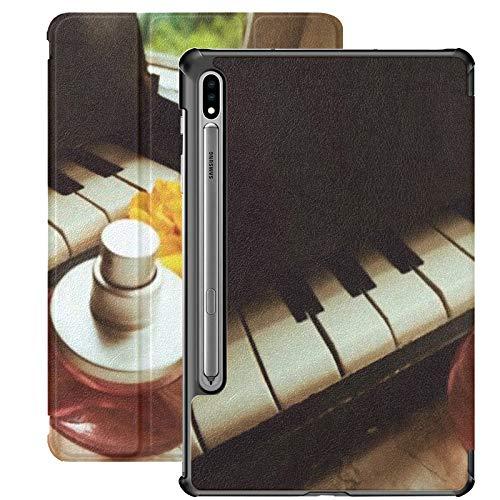 Funda Galaxy Tablet S7 Plus de 12,4 Pulgadas 2020 con Soporte para bolígrafo S, Piano de Perfume Flor Amarilla Hermosa en Soporte Delgado Funda Protectora Tipo Folio para Samsung