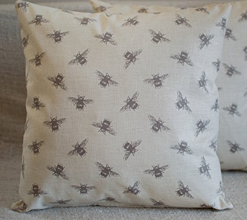 Bumblebee Bee Cushion Cover in Linen Natural Grey. 17' x 17' Square Pillow Cover.