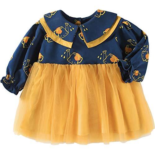 PROTAURI Dziewczynka sukienka dla niemowląt, żółta spódniczka tutu z długim rękawem casualowa sukienka ubrania na co dzień, na imprezę, 1-5 lat